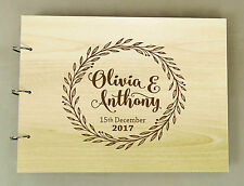 Handmade Custom Guest Book Rustic Wedding Wood Engraved Personalized Book
