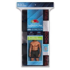 Fruit of the Loom® Men's Signature 5-pack Dri-Stretch Long-Leg Boxer Briefs