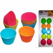 10 x Multi Coloured Fusion Silicone Cake Baking Round Cups Mould Cupcake Maker