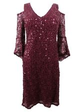 Nightway Women's Sequined Lace Bell-Sleeve Dress (8, Merlot)