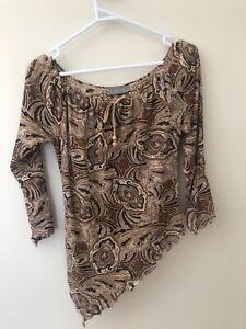 Jacquie E Size 10 Brown Paisley Print Asymmetric Sheer Long Sleeve Stretch Top