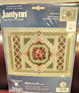 """2005 JANLYNN Counted Cross Stitch Kit """"ROSES SAMPLER"""" New in Package"""