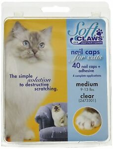 Soft Claws Nail Caps for Cats Kittens Paws, Small, Medium & Large, Choose Color
