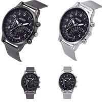 Business Man Stainless Steel Mesh Belt Wrist Watch Military Mens Watch