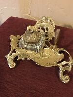 vintage DESK PEN HOLDER INK WELL INKWELL glass brass gold metal victorian Style