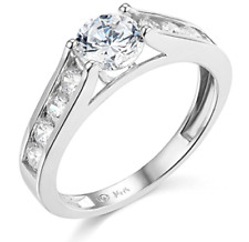 3 Ct Round Brilliant Cut Engagement Wedding Ring Cathedral Real 14K White Gold