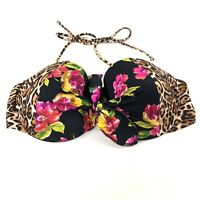 Victorias Secret Bikini Top Pushup Padded 32DD Bandeau 3M4 Floral Black Pink