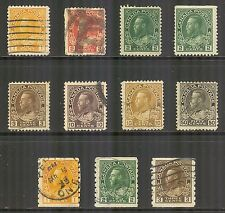 Canada #105...129, 1911-1925 King George V - Admiral Issues, 11 Different Used