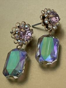 Liz Palacios flower/channel earrings - made with Swarovski crystals (Stud)
