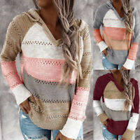 Women's Hooded Knitted Long Sleeve Top Striped Jumper Sweater Winter Pullover US
