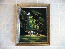 """Original Framed Painting on Black Velvet Ship Boat Vintage Retro 16"""" x 13 1/4"""""""