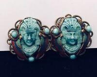 art deco egyptian revival earrings  1920's-'30s England Or 1890¨s