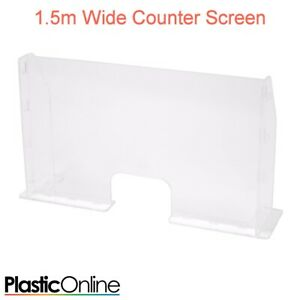 1.5m Wide Checkout Cough Guard Counter Sneeze Screen Virus Control Barrier
