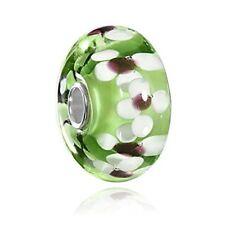 Murano Glas Beads grün weiß - 925 Silber Murano Beads Glas Anhänger grün 10x20mm