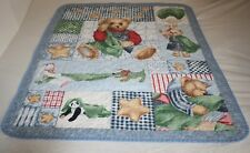 Handmade TEDDY BEAR Baby QUILT Blanket Animal Blue Checked Patchwork Panda Stars