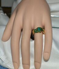 GLAMOROUS 1.82ct NATURAL EMERALD SET IN 14K GOLD OVER STERLING SILVER RING