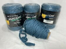 3+ Maxi Cord Macrame Steele Blue Braided 100 yds. ea. Fade Resistant New 6mm