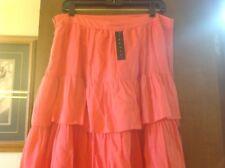 Peach Coral 100% cotton THEORY straight ruffled Prairie Skirt size 12