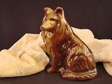 "Vintage Brazil Collie Dog Figurine Embossed Brazil Ceramic Iridescent 6 1/4"" T"