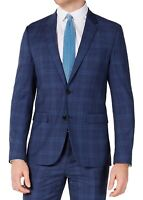 Hugo Boss Mens Suit Jacket Blue Size 36 Short Slim Fit Plaid Two-Button $445 051