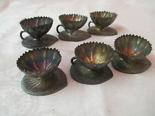 Antique Simpson Hall Miller quadruple Silver plate 6 open Salts Water Lily Pads