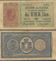 UMBERTO 1° BUONO DI CASSA DA 1 LIRA DEC.09/11/1895  R@RO 3  A.
