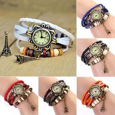 Vogue Retro Vintage Women's Eiffel Tower Quartz Leather Bracelet Wrist Watch