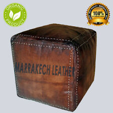free Shipping Moroccan Handmade Square Pouf,Ottoman Authentic Leather Footstool