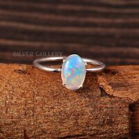 Natural Ethiopian Opal Solid 925 Sterling Silver Handmade Ring Size - 7.5 R-609