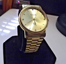 Mens Golden Sonata Water Resistant Watch Designed by Tata of India! New Battery!