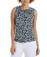 Calvin Klein Top Floral-Print Pleat-Neck Size Large