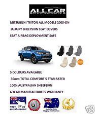 Sheepskin Car Seatcovers for Mitsubishi Triton ,Seat Airbag Safe, 5 Colours.30mm