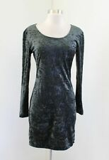 Vtg 90s Green Crushed Burnout Velvet Scoop Neck Bodycon Dress Size S / XS