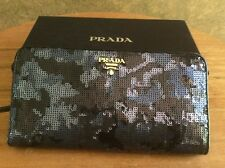 NEW AUTHENTIC PRADA PAILLETTES Bleu Bifold Long Wallet Leather 1M1265