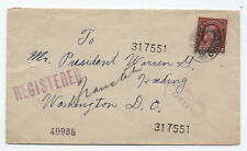 1921 registered cover Canton OH to Warren Harding 12ct WF [y1994]