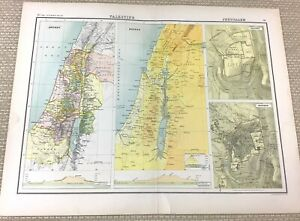 1891 Antique Map of Israel Palestine Ancient Jerusalem Modern Plan 19th Century