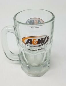 LARGE A&W Depuis Since 1956 Clear Glass Handled Cup Mug Stein Tankard Rootbeer