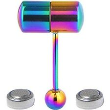 Vibrating Tongue Ring Stainless Steel Body Piercing w/ 4 Batteries 2 Pcs Rainbow