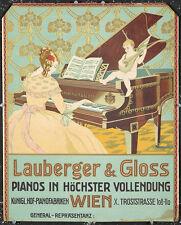 Original Vintage Poster Lauberger & Gloss Pianos Cherub Instrument