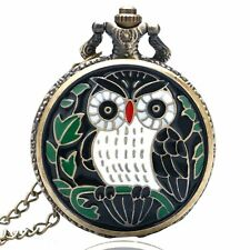 Black Night Owl Quartz Big Pocket Watch Necklace Pendant Chain Mens Gift P31