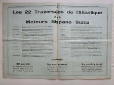 11/1934 PUB HISPANO SUIZA 22 TRAVERSEES ATLANTIQUE NORD COUZINET MERMOZ AD