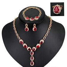 Hot Jewelry Red Drop Rhinestones Necklace Bracelet Earrings Ring Set Free Ship