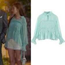 Whats Wrong With Secretary Kim Blouse Park Min Young Chiffon Shirt Green Tops