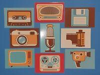 Set of 9 NEW Retro Media Icon Postcards, Camera, TV, Radio, Floppy, Film, Tape