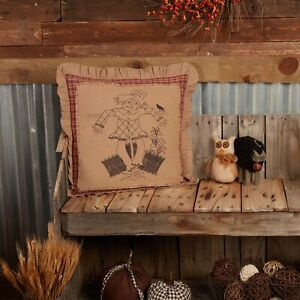 """VHC Brands Country 18""""x18"""" Scarecrow Pillow Tan Thanksgiving Holiday Decor"""