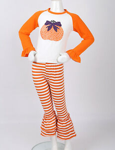 Toddler Girls Pumpkin Print T-Shirt Tops+Long Striped Leggings Halloween Outfit