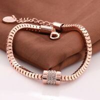 18K REAL ROSE GOLD FILLED MADE WITH SWAROVSKI CRYSTALS TENNIS CHAIN BRACELETS