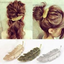 Women Cute Leaf Feather Hair Clip Hairpin Barrette Bobby Hair Accessories NEW