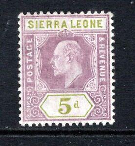 Sierra Leone KEVII  1907-12  5d. Purple & Olive Green SG106 LM/Mint