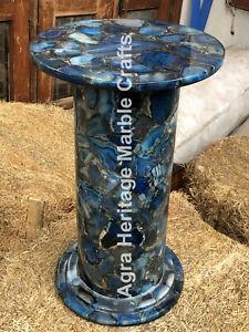 """21"""" Tall Blue Agate Stand Base Round Shape Semi Precious Design Unique Decor"""